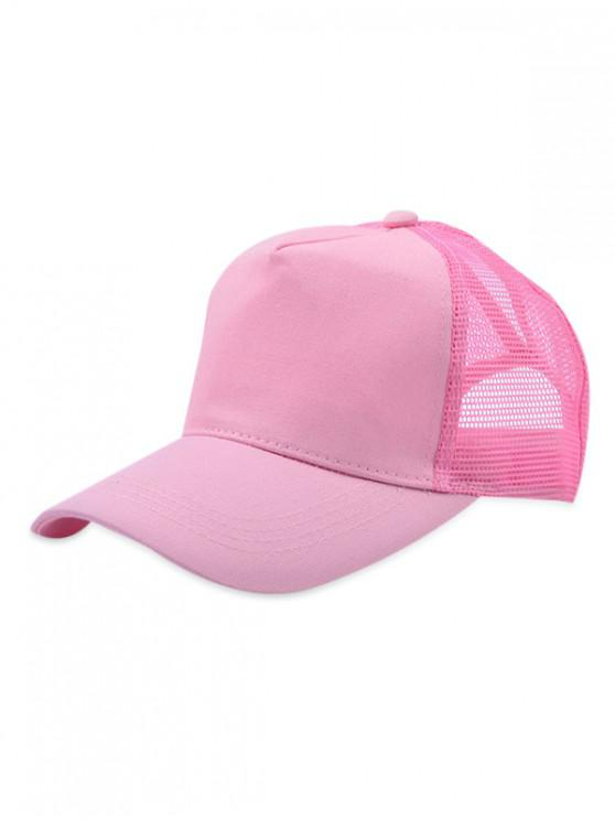 womens Mesh Trim Solid Color Baseball Cap - PINK