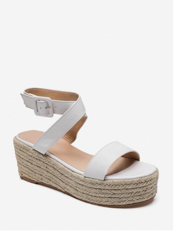 hot Cross Strap PU Flatform Espadrille Sandals - WHITE EU 38