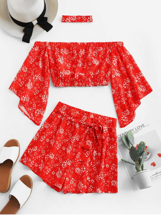 sale ZAFUL Floral Off Shoulder Top and Belted Shorts Set - RED M