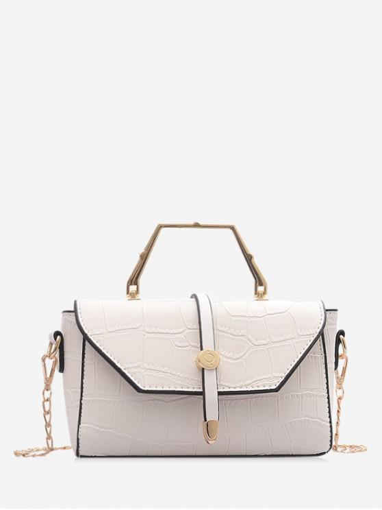 shop PU Embossing Chain Shoulder Bag - WHITE