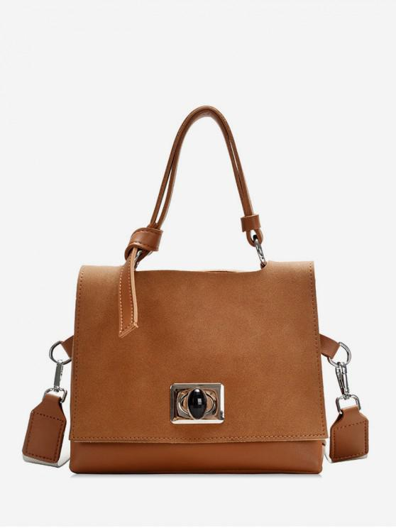 lady Square Hasp Small Shoulder Bag - BROWN
