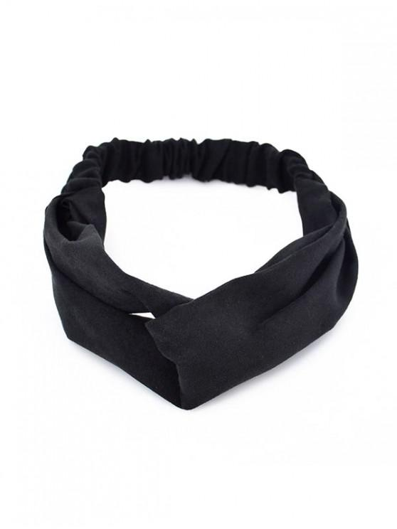 new Solid Color Decoration Suede Hairband - BLACK
