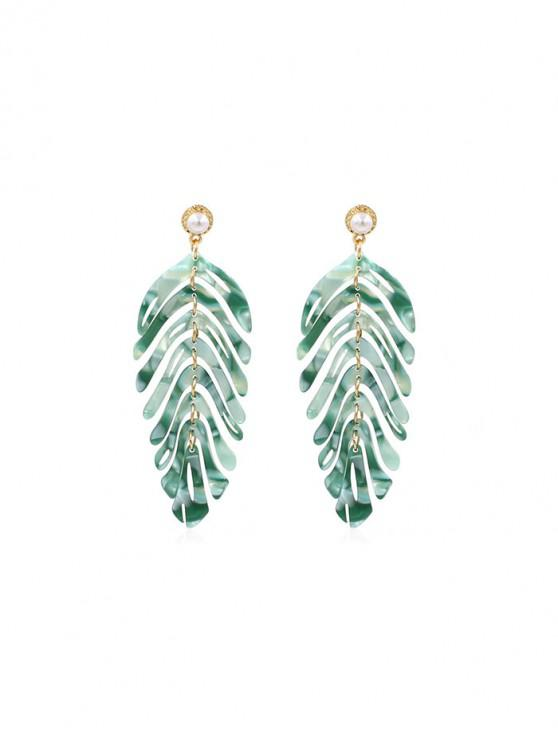 chic Tropical Leaf Hollow Acrylic Drop Earrings - GREEN
