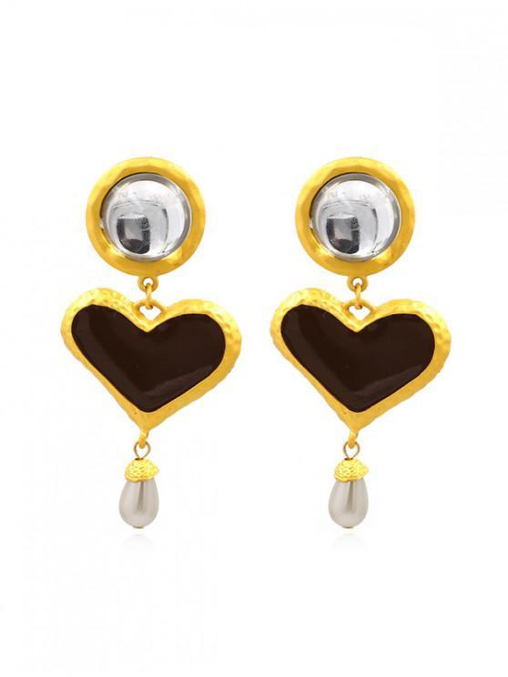 affordable Heart Water Drop Faux Pearl Earrings - DARK GRAY