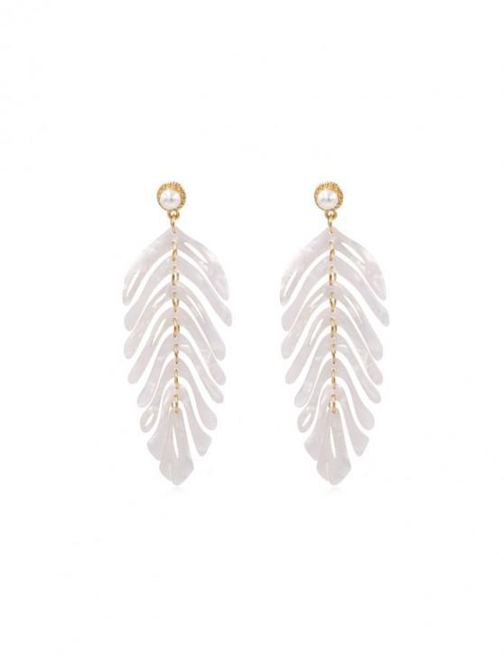 women's Tropical Leaf Hollow Acrylic Drop Earrings - WHITE
