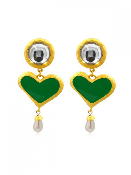 best Heart Water Drop Faux Pearl Earrings - GREEN