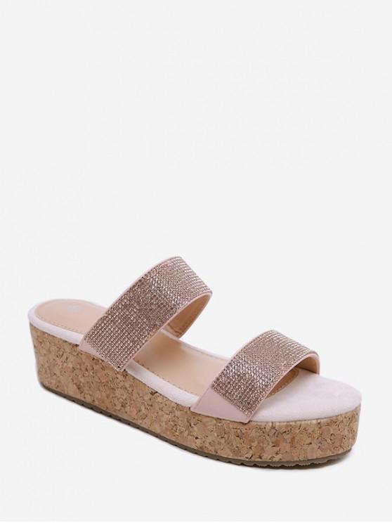 hot Rhinestone Double Strap Clog Heel Slides - PINK EU 36