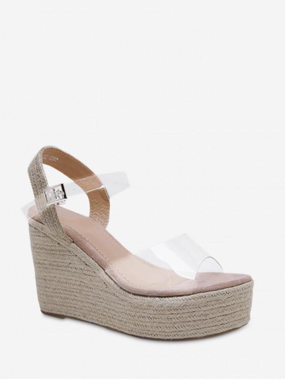 shops PVC Wedge High Heel Espadrille Sandals - PINK EU 40