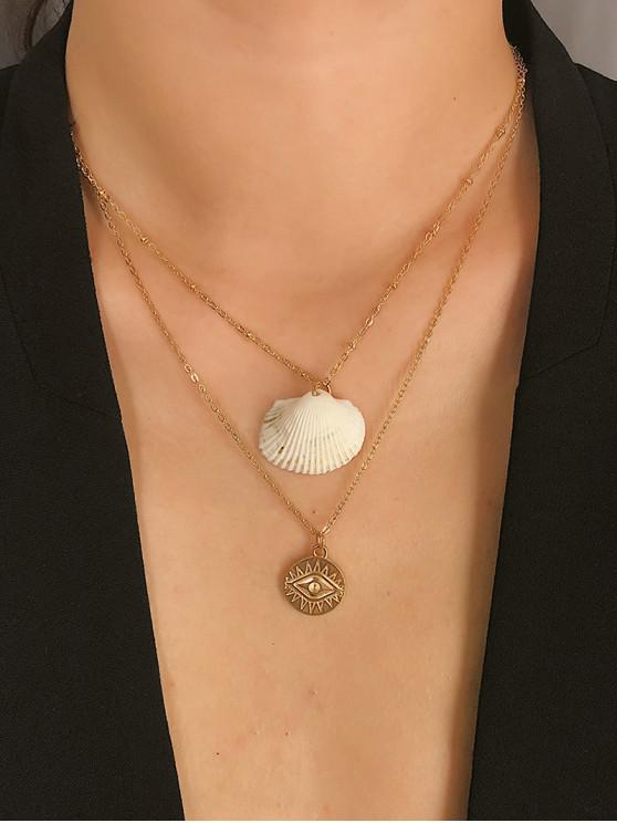 ladies Shell Eye Pattern Layered Necklace - GOLD