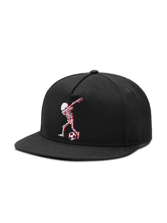 chic Skeleton Football Flat Baseball Cap - BLACK