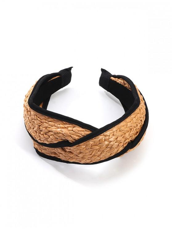 womens Brief Cross Knitted Straw Hairband - CAMEL BROWN