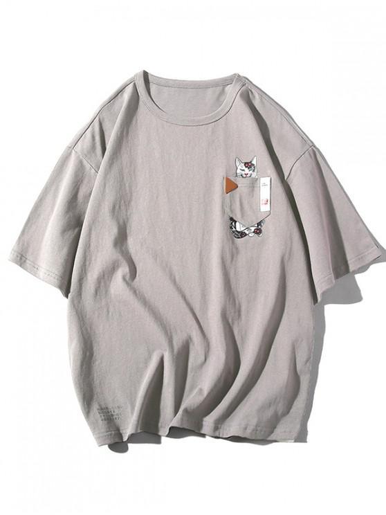 Camiseta casual con estampado de gato de bolsillo - Gris Claro 3XL