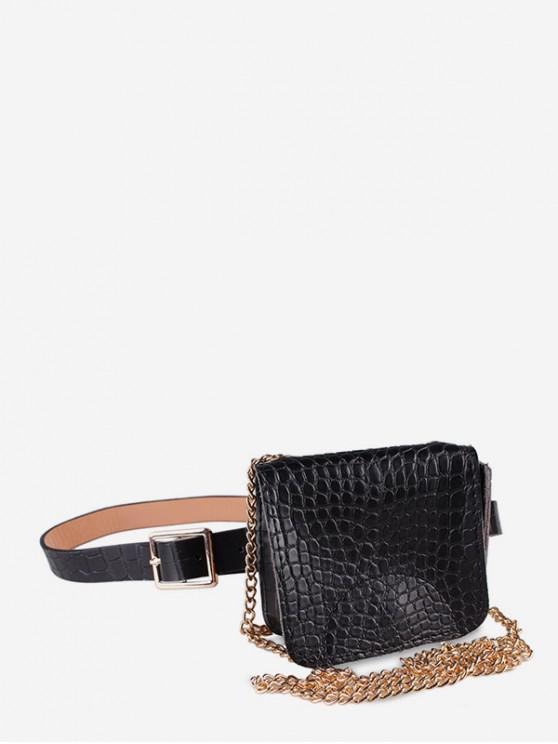 women Textured Decoration Fanny Pack Belt Bag - BLACK