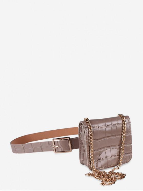outfits Textured Decoration Fanny Pack Belt Bag - DARK KHAKI