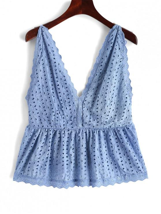 sale ZAFUL Eyelet Plunging Scalloped Tank Top - BLUE M