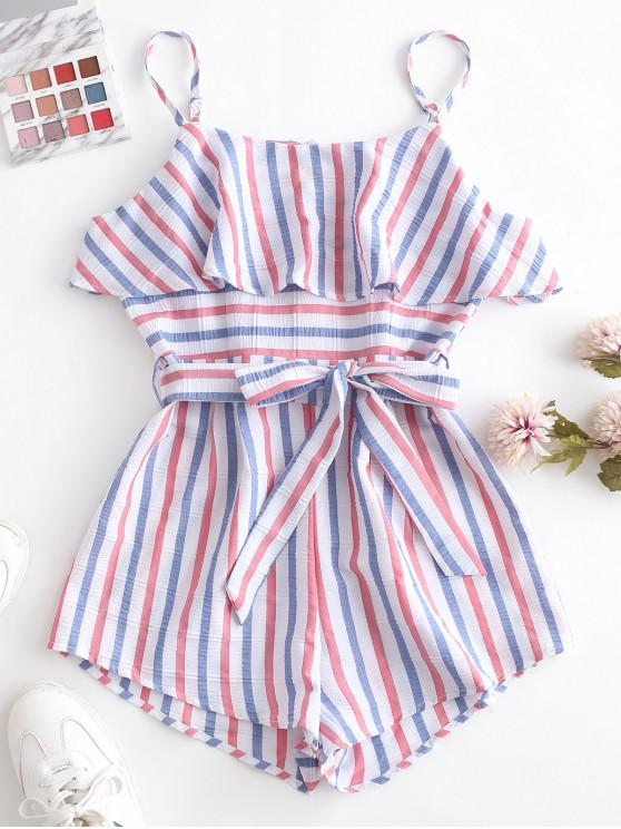 outfit ZAFUL American Flag Stripes Belted Cami Romper - MULTI M
