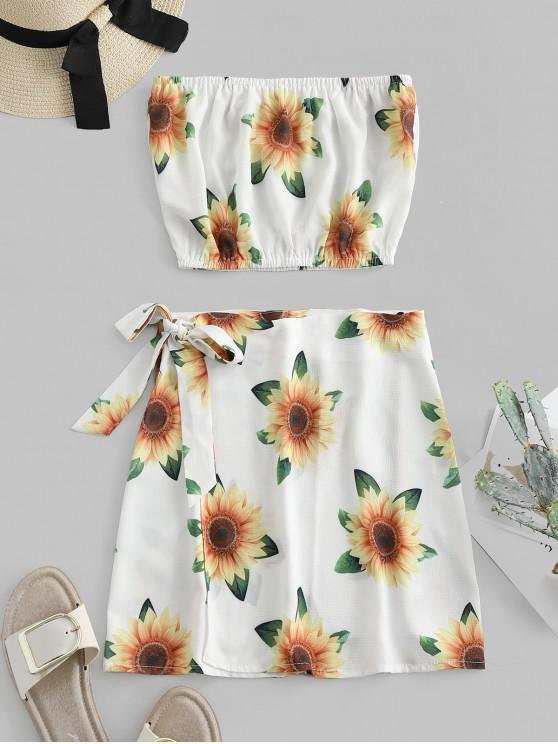 lady Sunflower Bandeau Top And Wrap Skirt Set - WHITE S