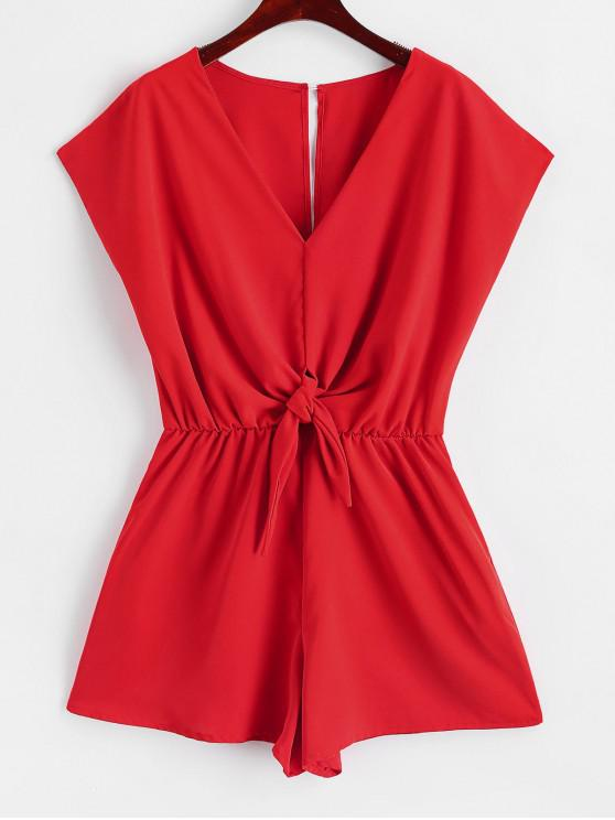 womens Button Loop Open Back Tie Front Romper - RED XL