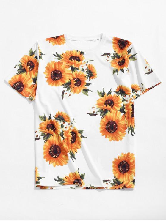 T-shirt Décontracté Tournesol Imprimé à Manches Courtes - Blanc S