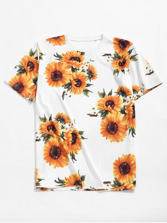 outfits Short Sleeves Sunflower Allover Print Casual T-shirt - WHITE L