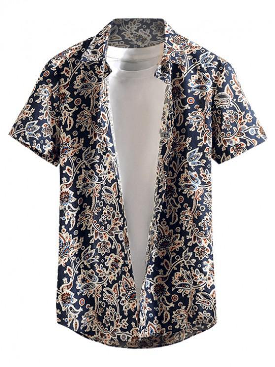 trendy Flower Paisley Print Short Sleeves Beach Button Shirt - CADETBLUE M