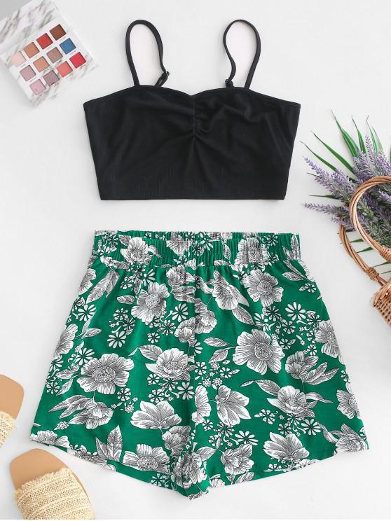 shops ZAFUL Contrast Ribbed Cami Top And Floral Shorts Set - MULTI M
