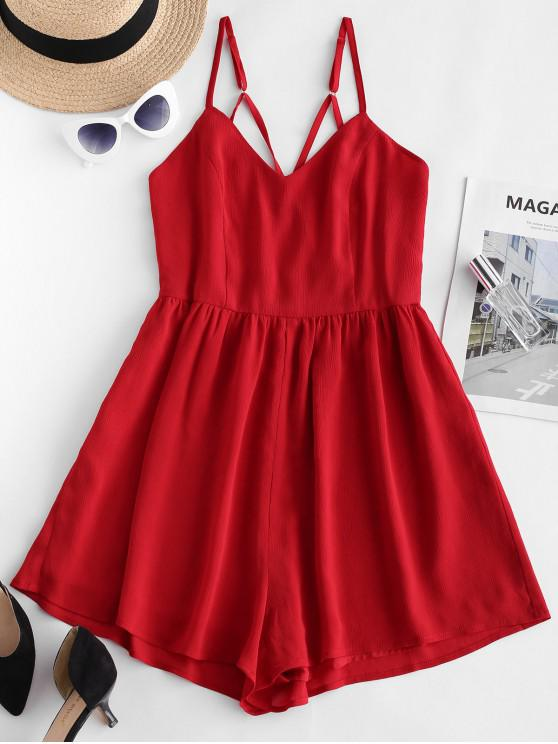 latest ZAFUL Cross Back Chiffon Skirted Cami Romper - CHESTNUT RED M
