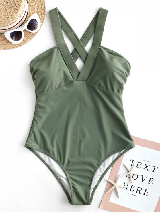 outfit ZAFUL Criss Cross Plain One-piece Swimsuit - CAMOUFLAGE GREEN L