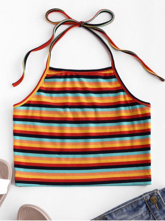 women's ZAFUL Rainbow Striped Ribbed Crop Halter Top - MULTI-K XL