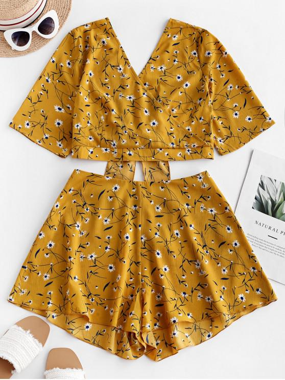 hot ZAFUL Knotted Surplice Ditsy Floral Two Piece Set - BEE YELLOW S