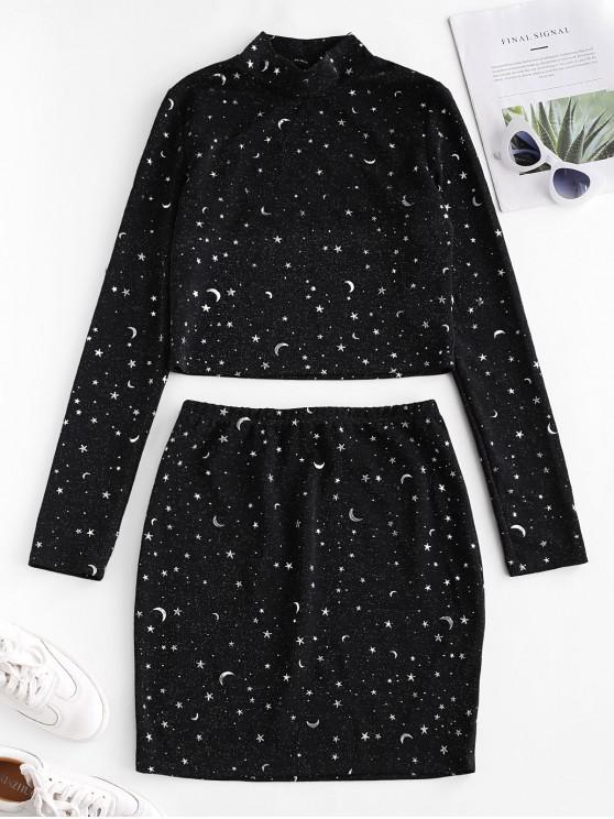 ladies ZAFUL Starry Metallic Thread Glitter Two Piece Dress Set - NIGHT M