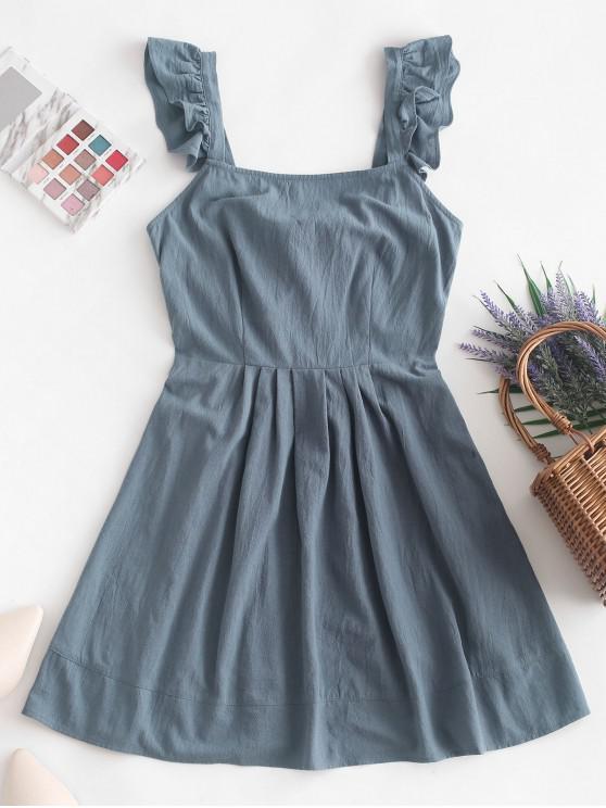 ZAFUL أكمام الكشكشة مرتبطة عودة البسيطة اللباس - ازرق رمادي M