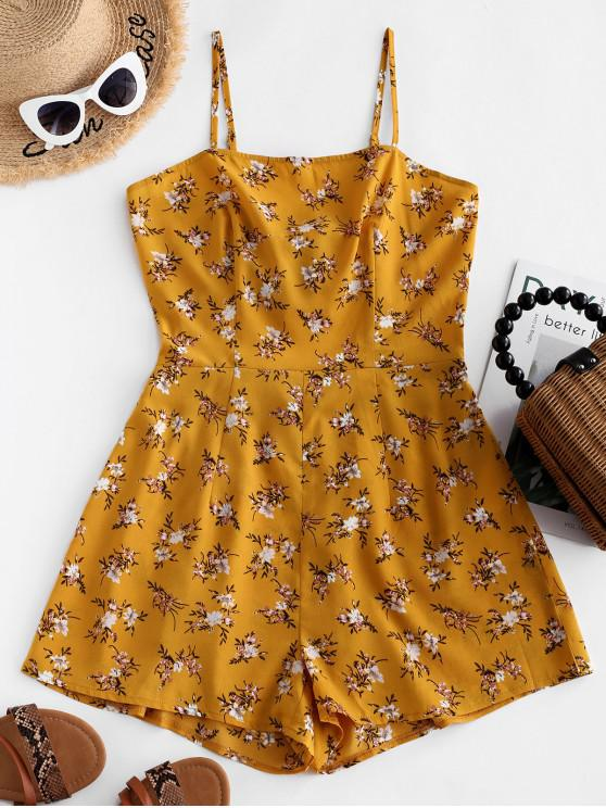 online ZAFUL Knotted Ditsy Floral Cut Out Cami Romper - BEE YELLOW M