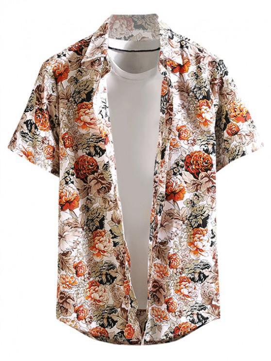 fashion Flower Allover Print Button Hawaii Beach Shirt - ORANGE XS