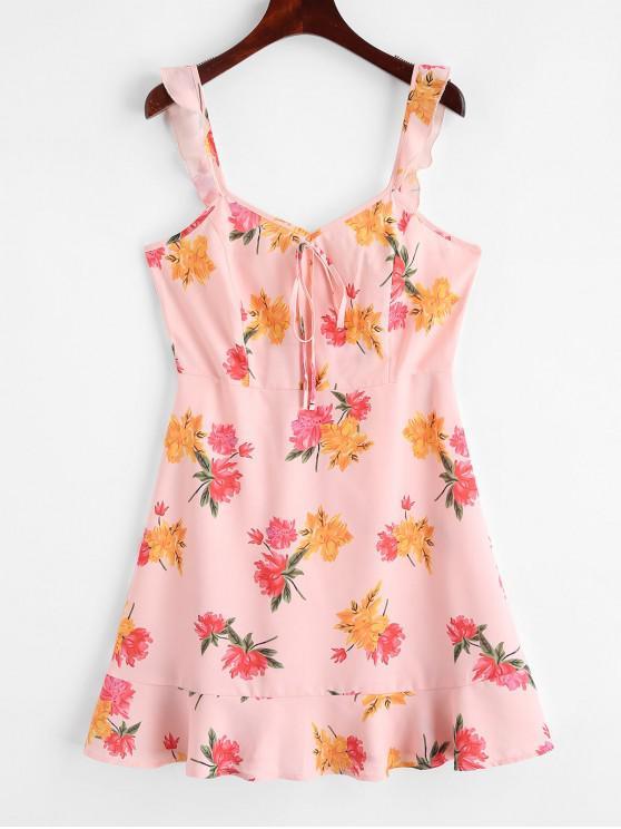 shop ZAFUL Tied Collar Floral Sleeveless Mini Dress - ROSE M