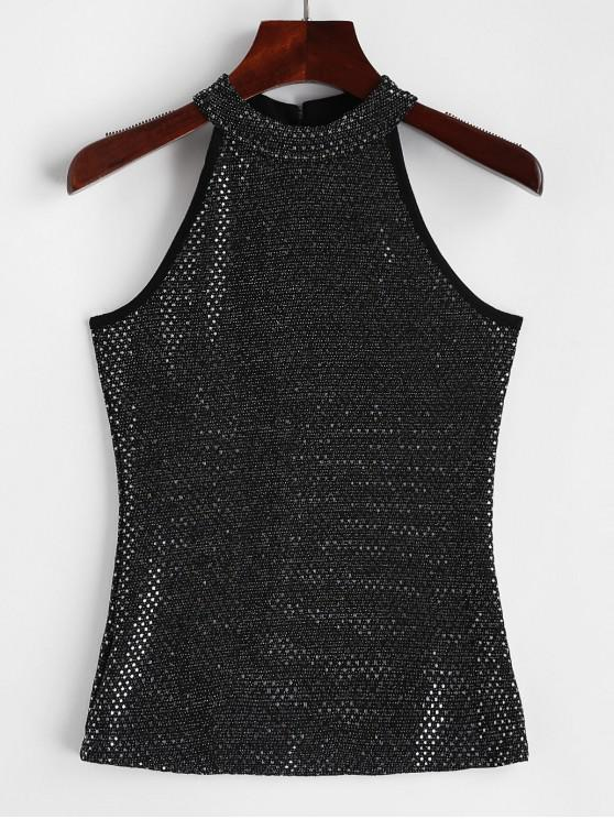 unique Sequined Keyhole Back Mock Neck Tank Top - MULTI-B ONE SIZE