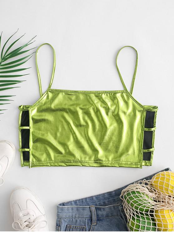 women's Metallic Lattice Side Crop Camisole - GREEN L