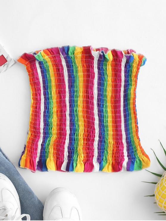 latest Smocked Rainbow Stripes Bandeau Top - MULTI L