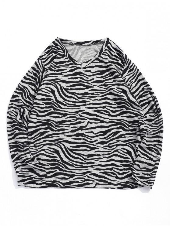 trendy Irregular Striped Waves Print V-neck T-shirt - BLACK XL