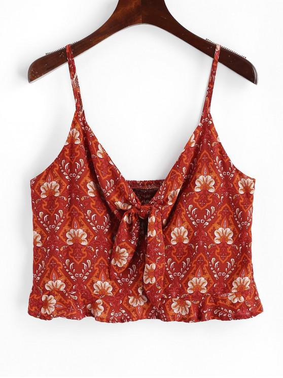 shop Floral Print Knotted Crop Cami Top - CHESTNUT RED L