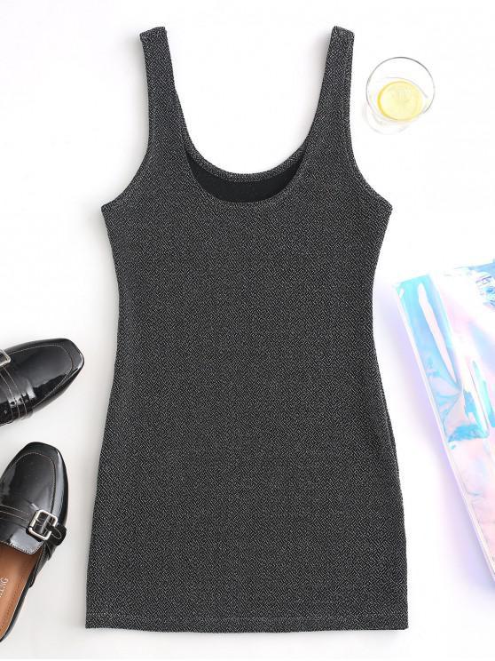 fashion Glitter Mini Tank Dress - SILVER M