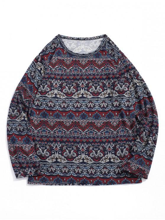 women Floral Geometic Print Long Sleeves Bohemian T-shirt - MULTI-A 2XL