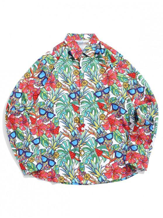 Tropical Flower Pineapple with Glasses Stampa Hawaii Casual Shirt - Multi Colori 2XL