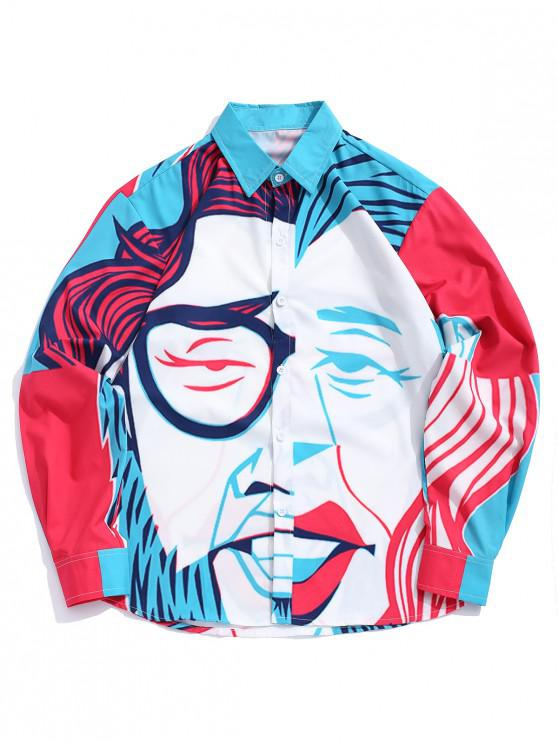 affordable Long Sleeves Men Figure Painting Print Button Shirt - MULTI XL