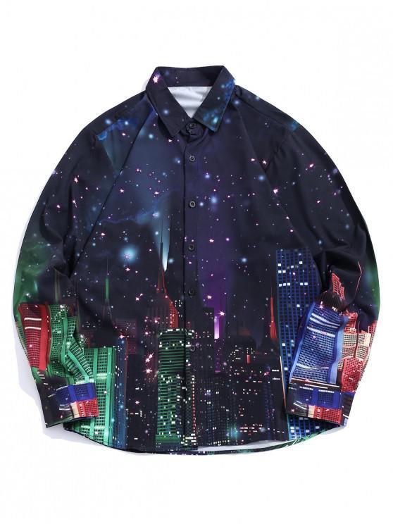 Camicia da notte a notte stellata con maniche lunghe e maniche lunghe - Multi Colori L