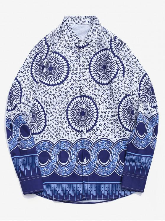 affordable Tribal Dots Round Swirl Print Long Sleeves Button Shirt - MULTI M