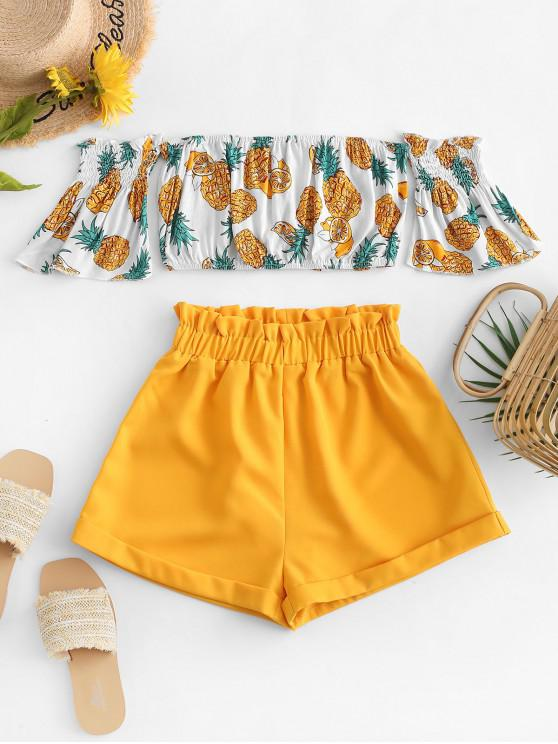 hot Off Shoulder Pineapple Top And Paperbag Shorts Set - YELLOW S