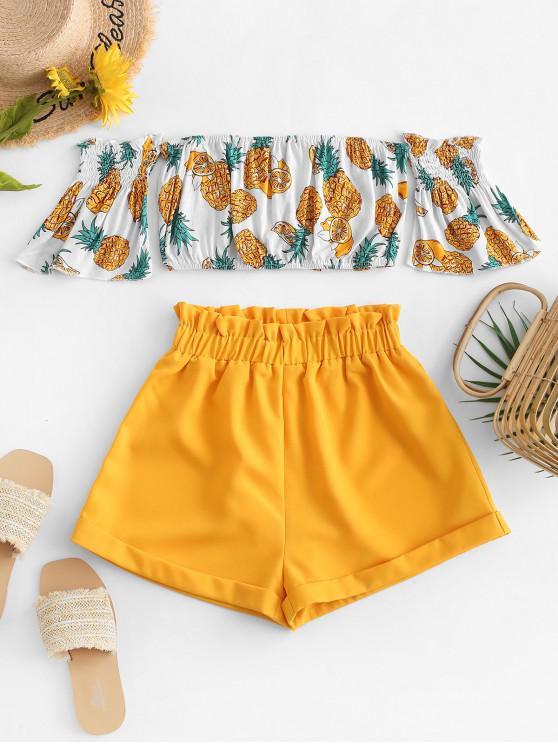 Fora do ombro abacaxi Top e Paperbag Shorts Set - Amarelo XL