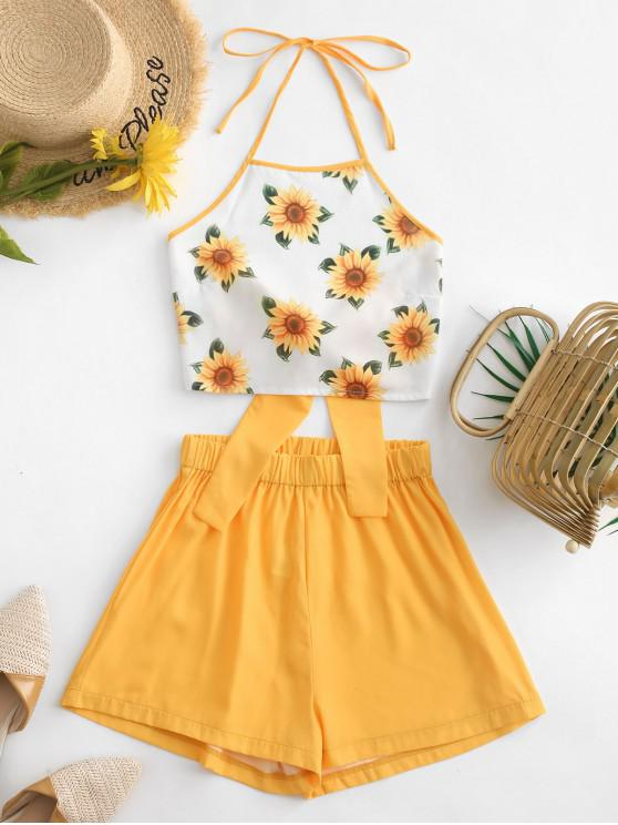 chic ZAFUL Halter Tied Back Sunflower Two Piece Set - BEE YELLOW S
