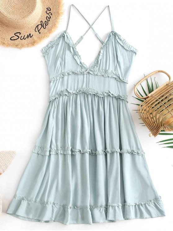 outfit Criss Cross Ruffle Mini Dress - CYAN OPAQUE L